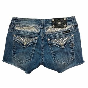 Miss me cutoff embellished jean shorts